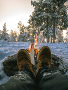Campfire and hiking in Rovaniemi